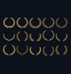 Golden laurel wreath realistic crown leaf shapes vector