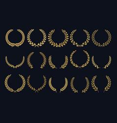 golden laurel wreath realistic crown leaf shapes vector image