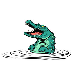 green crocodile character isolate on white vector image