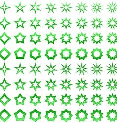 Green star shape set vector image