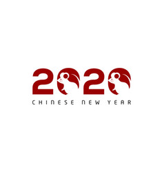 happy chinese new year 2020 lettering rat animal vector image