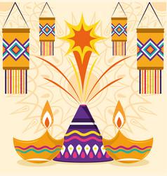 happy diwali festival fireworks lanterns lamps vector image