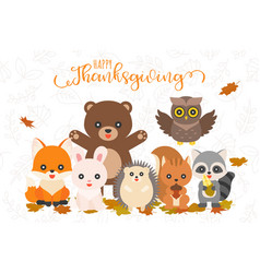 happy thanksgiving and cute animal character for vector image