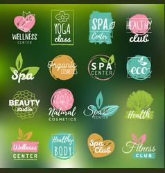 Health and beauty care logtypes spayoga vector