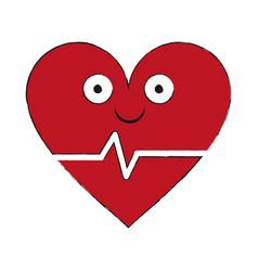 heartbeat medical symbol cartoon smiling vector image