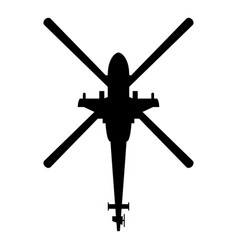 Helicopter top view battle helicopter icon black vector