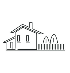 house building isolated outline icon real estate vector image