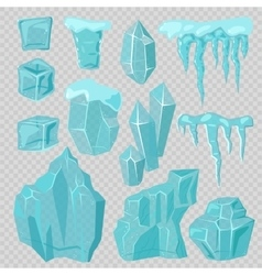 Ice caps snowdrifts and icicles elements vector