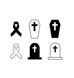 Icon black awareness ribbon crucifix vector