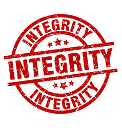 Integrity round red grunge stamp vector