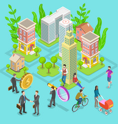 isometric flat concept investment in vector image