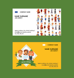 Job agency business-card woman man vector