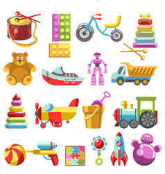 Kid toys or children playthings isolated vector