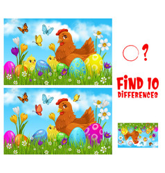 kids game find ten differences with easter chicken vector image