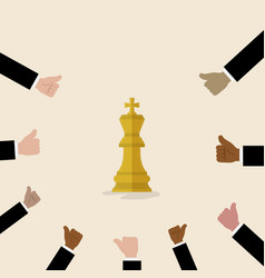 King of chess symbol with with many thumbs up vector