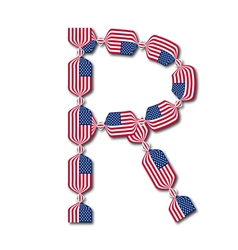 Letter R made of USA flags in form of candies vector