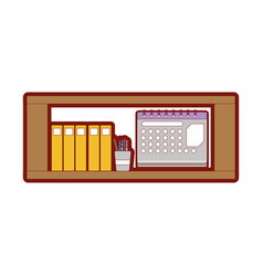 Line color office shelf with folders document and vector