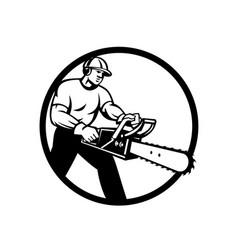 Lumberjack tree surgeon arborist chainsaw circle vector