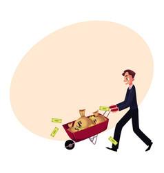 Man businessman pushing wheelbarrow full of money vector