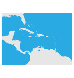 Map caribbean region and central america grey vector