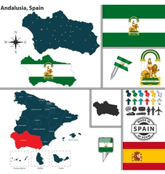 Map of Andalusia vector