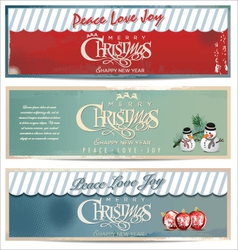 Merry Christmas retro banner set vector image