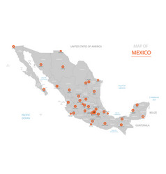 mexico map with administrative divisions vector image