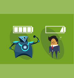 Modern robotic and business man with battery signs vector
