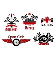 Motorsport symbols for auto racing design vector