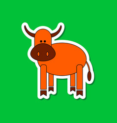 Paper sticker on stylish background kids toy cow vector