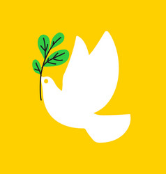 peace dove flat style of white pigeon with olive vector image