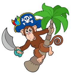 pirate monkey with palm tree vector image
