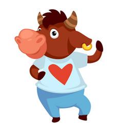 positive bull character waving or posing ox vector image