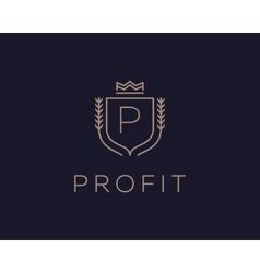 Premium monogram letter p initials ornate vector