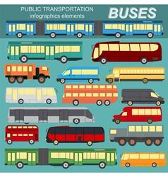 Public transportation buses Set elements vector image