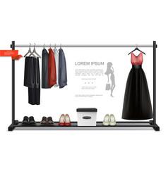 Realistic trendy wardrobe colorful concept vector
