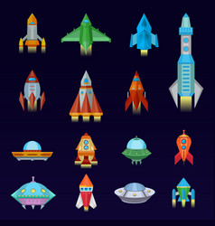 rocket spaceship or spacecraft and spacy vector image