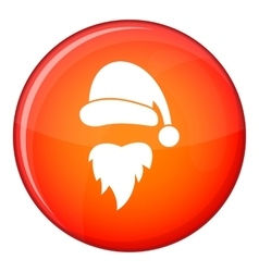 Santa Claus hat and beard icon flat style vector