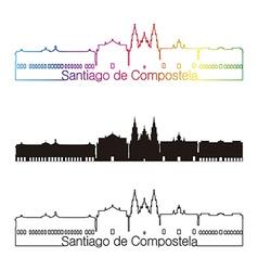 Santiago de Compostela skyline linear style with vector