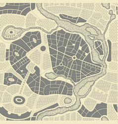 seamless pattern with an old abstract city map vector image