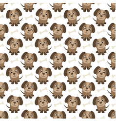 Seamless pattern with funny dogs and bones vector