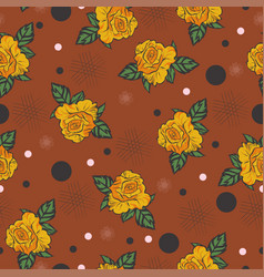 seamless pattern with roses and dots graphics vector image