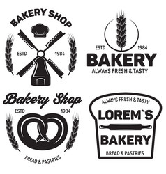 set bakery badges with pastry icons and design vector image