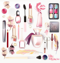 Set from cosmetics in watercolor style vector