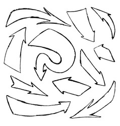 set hand-drawn doodle black arrows on vector image