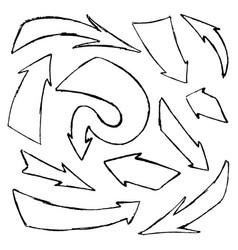 Set hand-drawn doodle black arrows vector