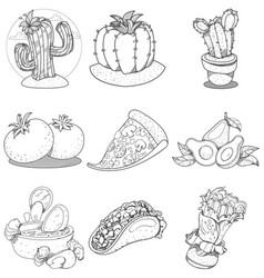set of icons on a mexican theme mexican food and vector image