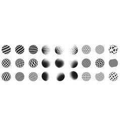 Set of minimalistic shapes halftone black spheres vector