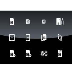 SIM cards mini micro nano icons on black vector image