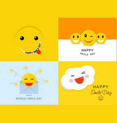 smile day banner set flat style vector image
